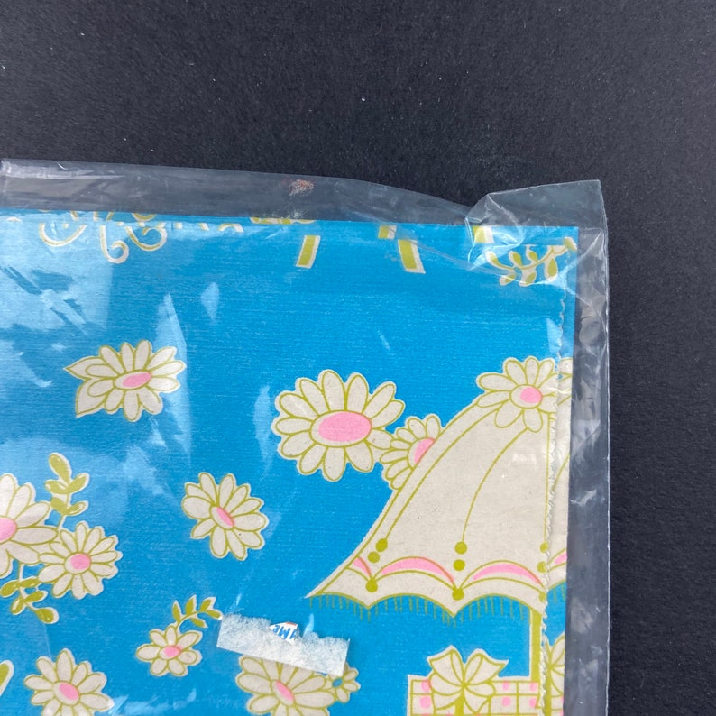 1970s Gift Wrap PARTIAL SHEET All Occasion Shower Garden Party Aqua Pink Yellow Floral Umbrella Open Package