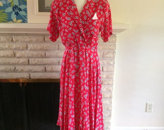 Vintage JT Dress 1980s Red Dress Geometric Print Circle Skirt Midi Dress Retro Dress Shoulder Pads