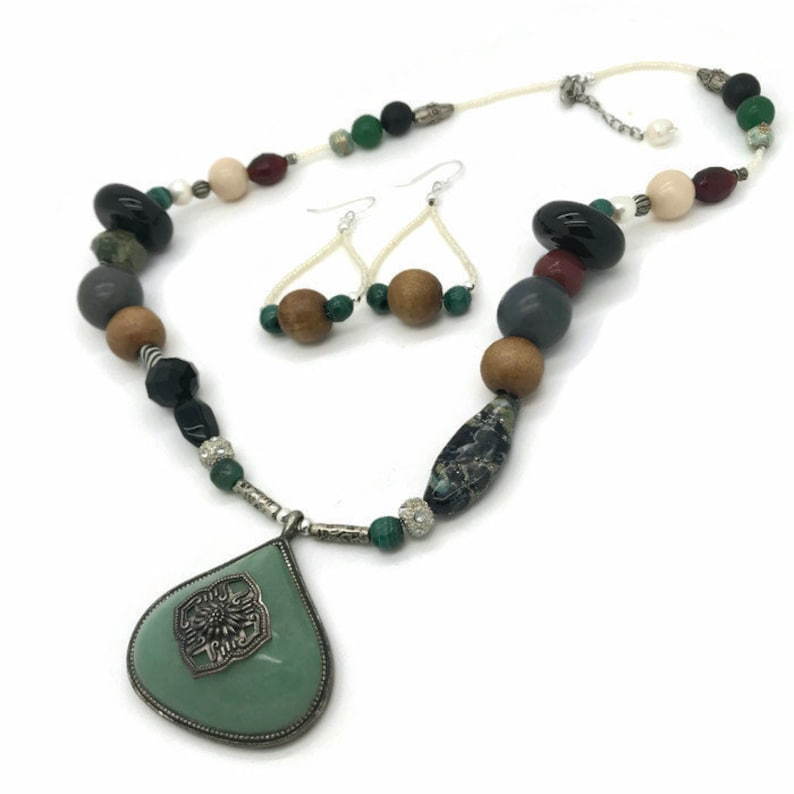 Handmade Boho Necklace and Earrings Set Stone Wood Plastic Recycled Vintage Elements