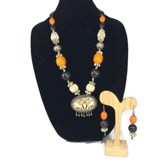 Vintage Carved Bone Beaded Necklace Earrings Set Elephant Etsy