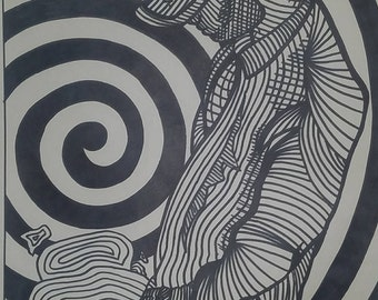 Trippy Black and White Marker Print