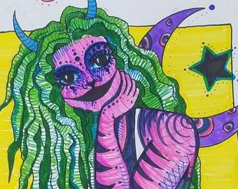 Alien Girl Marker Print on Paper
