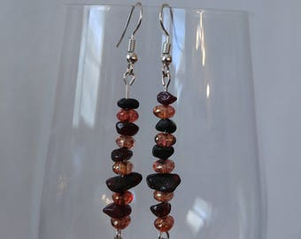 Garnet and Czech glass earrings