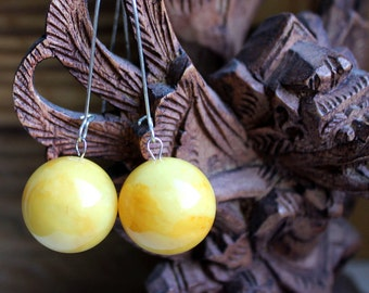 Vintage balls Molded Amber Earrings, Baltic amber jewelry, Natural jewelry, Boho jewelry, Bohemian jewelry, Gifts for her, Gifts for Women