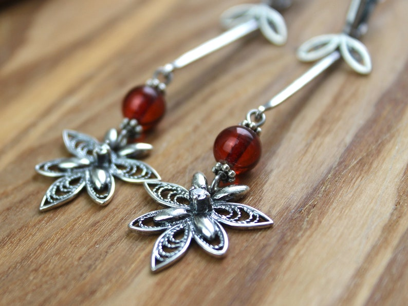 Red Orchids Amber Dangle Earrings Natural jewelry amber jewelry Gifts for Women Boho jewelry Christmas gift Gifts for her
