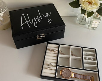 Personalised Jewellery Box Bridal Party Gift Stocking Filler Gift For Her Mothers Day Gift Jewellery Case with Name
