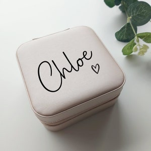 Jewellery Case with Name Personalised Travel Jewellery Box Stocking Filler Gift For Her Bridal Party Gift Bridesmaid Gift