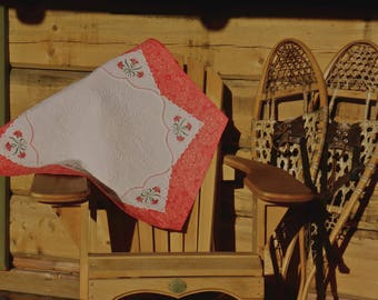 Quilted Coral Hexagon Wholecloth Tabletopper