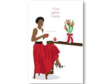 Birthday Card African American Women Stylish Natural Hair Braids Coffee Cupcake Black Woman Flowers Afrocentric