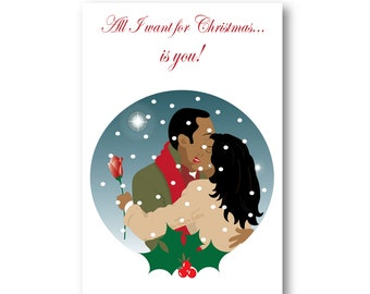 christmas card couple embracing in snowfall holiday card christmas love black couple black people fashion illustration black art