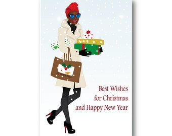 christmas card holiday card black woman head wrap sunglasses african american gifts fashion illustration black people new year