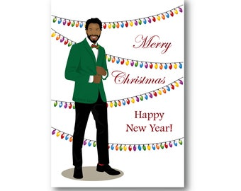 christmas card holiday card man black man handsome elegant man african american gifts fashion illustration black people new year