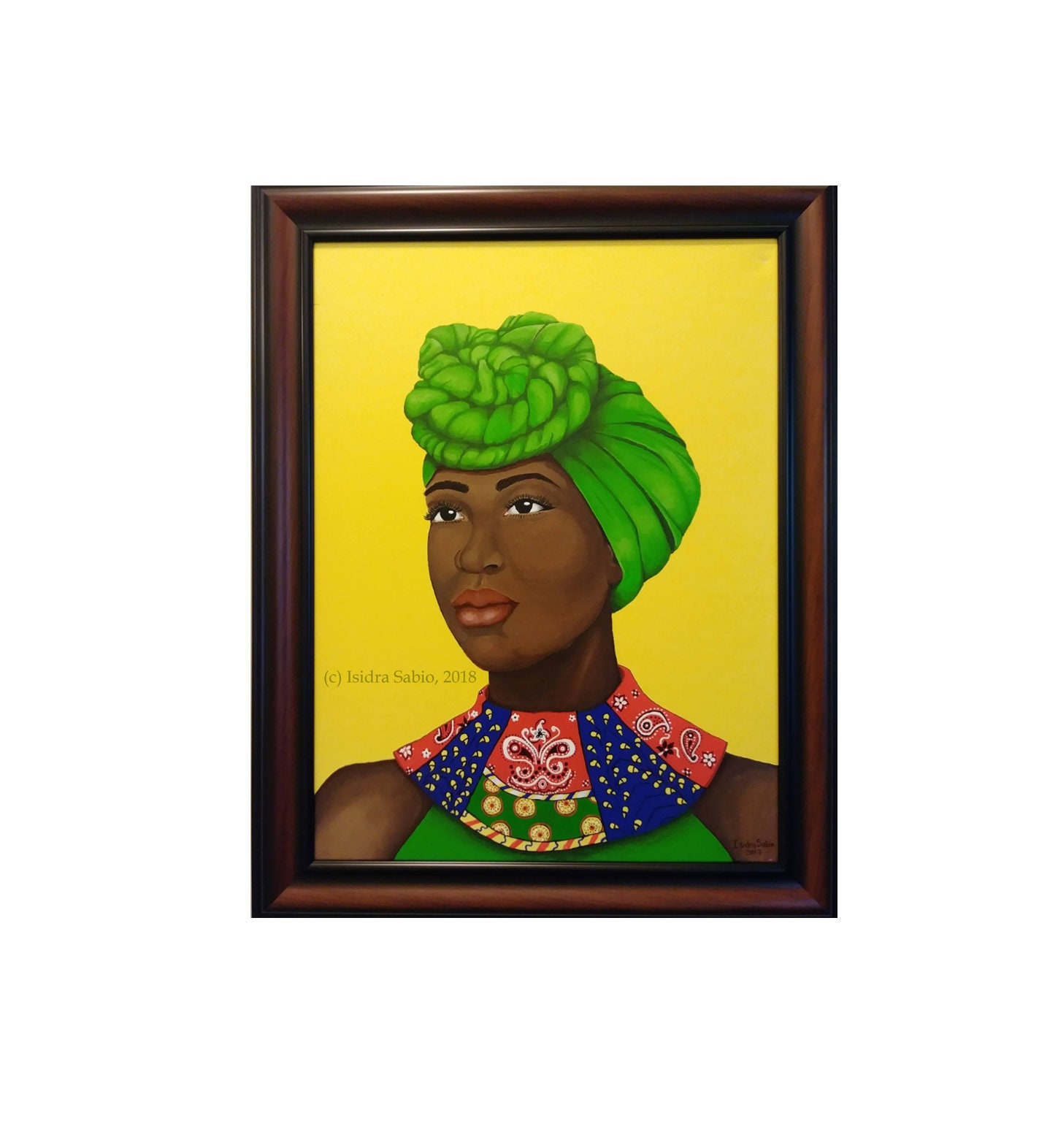 Paintings of a beautiful black woman wearing headwrap and   Etsy