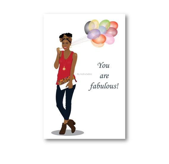 Birthday Card African American Women Stylish Woman Natural Etsy