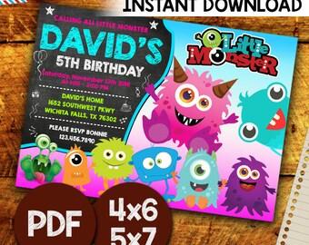 Little Monster Invitation, Little Monster  Party, Little Monster  Birthday, Little Monster Birthday Party, Monster Invitation, Printable pdf