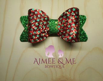 Red and Green Spotty Elf Bow