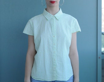 Extra Large Capped Sleeve Trendy Green and White Gingham Button up Top