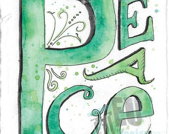 Watercolor Word Series - PEACE