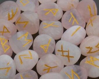 Rose Quartz runes Crystal Rune Stones Elder Futhark Rune set Viking Runes Runic alphabets Healing stones