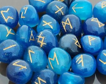 Rune Stones Crystal Runes Blue Agate runes Viking runes Elder Futhark set Runic alphabets Fortune telling stones Healing stones