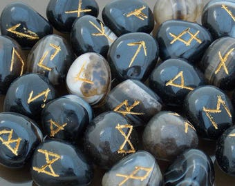 Rune Stones Black Onyx Crystal Runes Viking runes Elder Futhark set Runic alphabets Fortune telling stones Healing stones