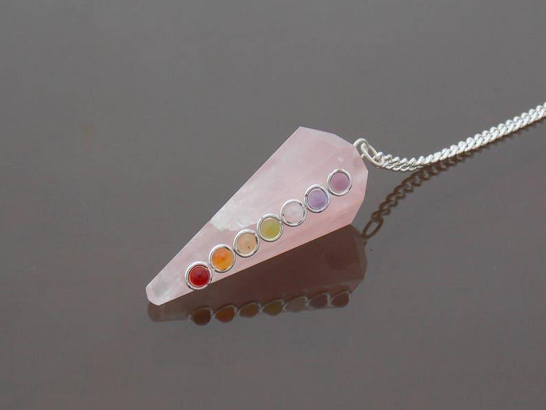 Bonded Chakra Pyramid Pendulum Crystal Dowsing Pendulum for Necklace
