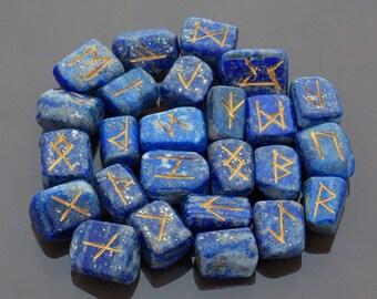 Lapis Lazuli Runes Rune Stone set Crystal Runes Viking runes Elder Futhark set Runic alphabets Healing stones
