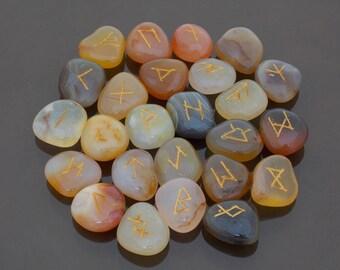Runes Crystal Rune Stones  Multi Carnelian runes Viking runes Elder Futhark set Runic alphabets Fortune telling stones Healing stones