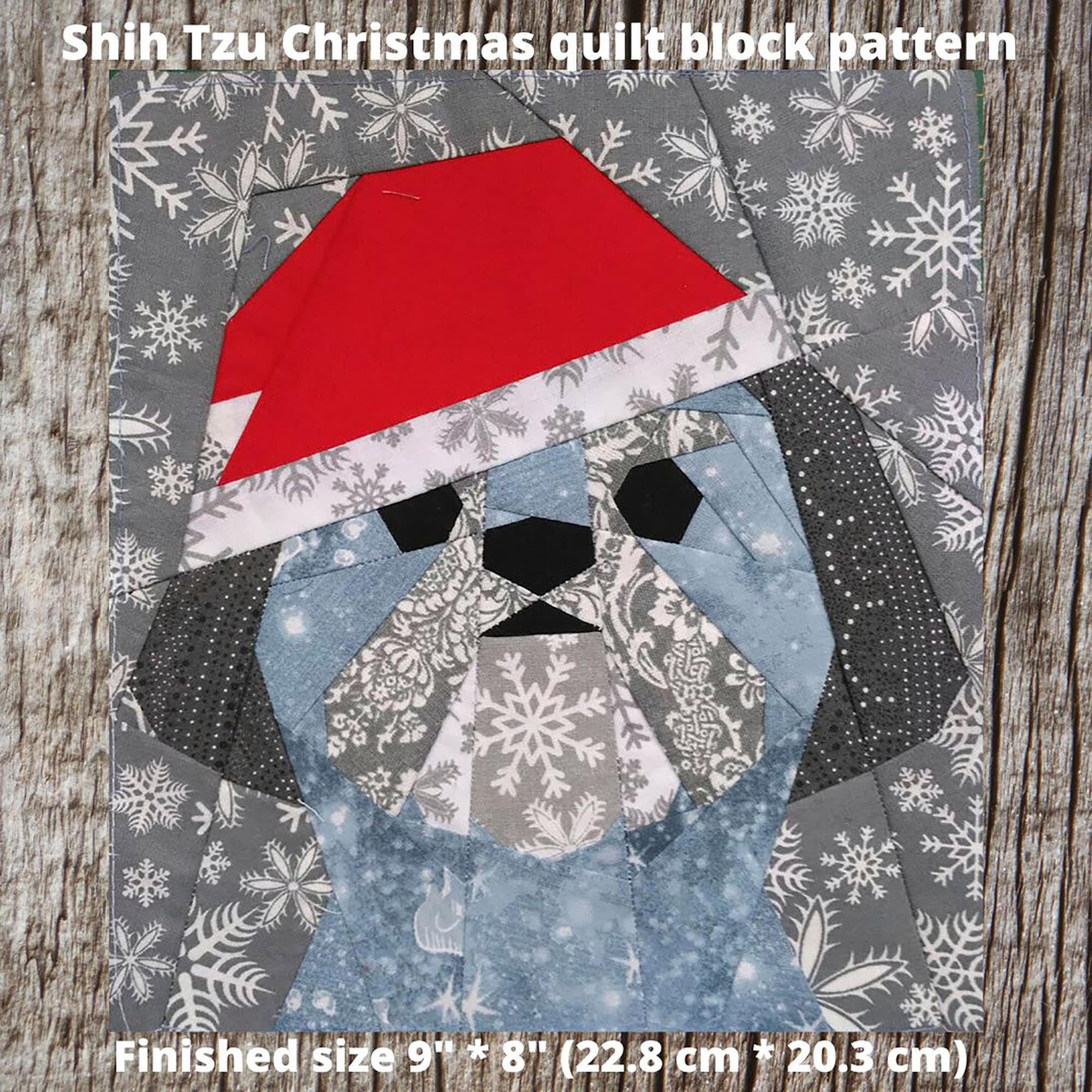 Shih Tzu Christmas quilt block pattern | Etsy