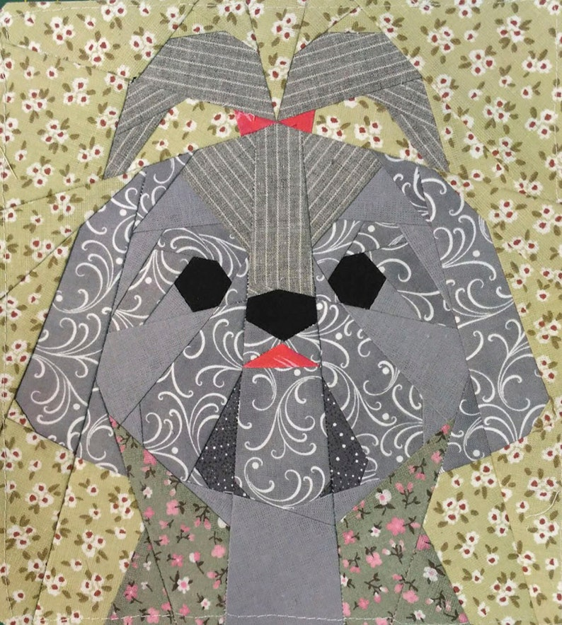 Shih Tzu girl quilt block pattern | Etsy