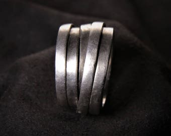 Rustic Wrap Ring silver Black Hand made