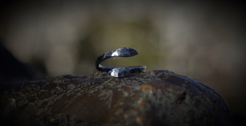 hammered ring handmade statementring blackened ring curved sterling silver luminous hole Celtic Rustic silver ring