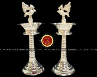German Silver Peacock Diya Lamps Set | Designer 7 inchs | Return gifts Pongal Diwali Parties Engagement Weddings | Classical Dance Jewelry
