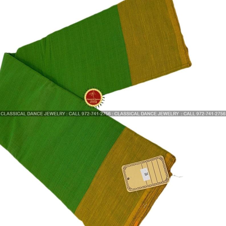 Kuchipudi Classical Dance Jewelry halfsareeKalakshethra sarees Bharatnatyam Parrot Green Mustard Border Dance practice sarees