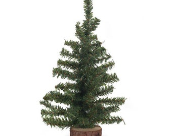 artificial mini christmas trees with wood base 12 15 18 24