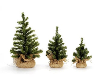 artificial mini christmas trees with burlap wrapped trunk 6 8 12 15 18