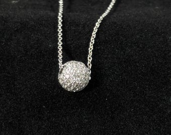 Stunning White Gold and Diamond Sphere Pendant