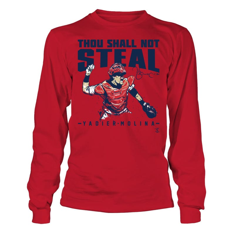 best service ec395 5affa Yadier Molina T-shirt - Thou Shall Not Steal - Gildan Long-sleeve T-shirt -  Missouri - Free Shipping - Officially Licensed Sports Apparel