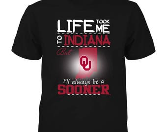 Oklahoma Sooners T-shirt - Life Took Me To Indiana - Gildan Youth T-shirt - Oklahoma - Free Shipping - Officially Licensed Sports Apparel