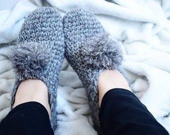 Crochet slippers FLUFFY antrazit gray alpaca