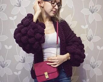 Oversize chunky knit Cardigan knitted bomber jacket