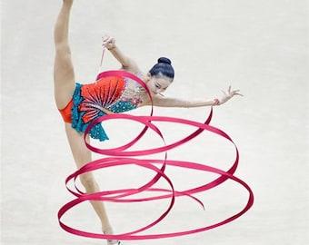 Dance Ribbon Rhythmic Gymnastics Ballet Streamer Twirling Rod worship 11 Color Art Gymnastic Ballet Streamer Twirling Rod Popular