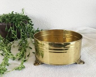 Vintage Brass Footed Planter, F.T.D.A Holland Brass Pot Planter, Hollywood Regency Style Planter by Nijhof-Zevenaar