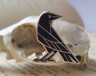 clever crow hard enamel pin
