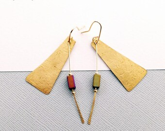 Triangular Geometric Hammered Brass earrings with Matte Lustre Hematite Beads - Modern Artisan-made Jewellery