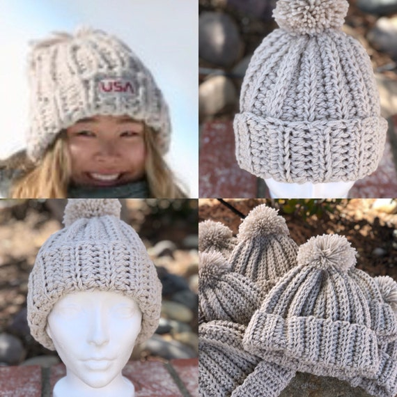 Chloe Kim Hat inspired Gold Medalists Chunky Crochet Hat  42dfb06421b