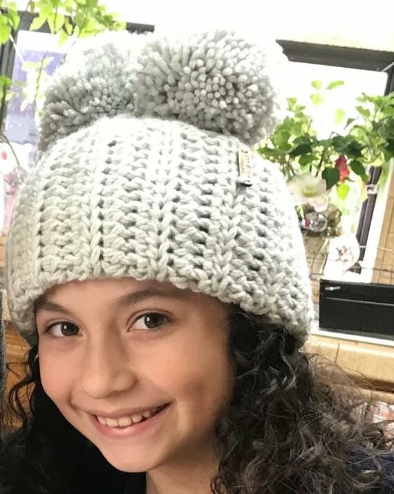 Chloe Kim Hat-inspired dual pompom hat Chunky Crochet Hat  1ac7830ee4c