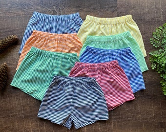 Gingham shorts for children / Size newborn to 10 years old / Short length and Knee length