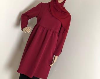 Kneelengthred Tunika, Modestblouse, Longshirt, Kleid, Modestclothing, Islamicclothing, muslimoutfit