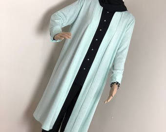MintKnitCardigan, WarmCardigan, Longshirt, Stuck, Bluse, Modestwear, Islamicclothing, wintercardigan